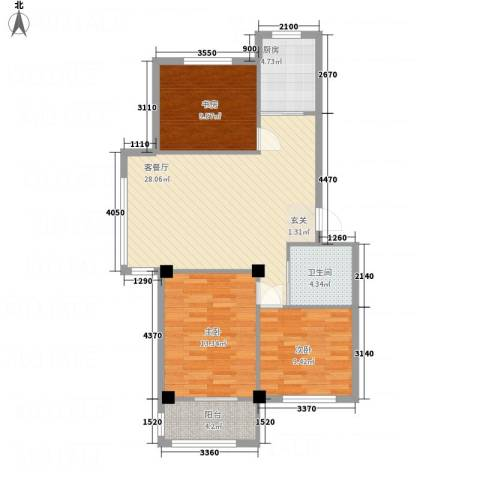 丽景家园3室1厅1卫1厨73.97㎡户型图