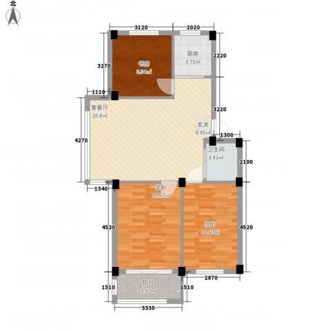 丽景家园3室1厅1卫1厨86.00㎡户型图