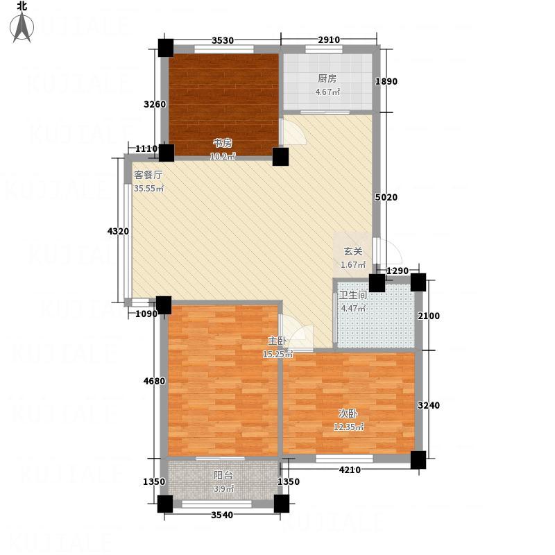 丽景家园1.55㎡E户型3室2厅1卫1厨