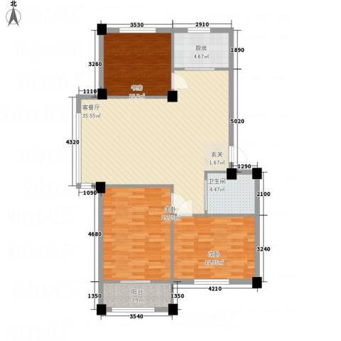 丽景家园3室1厅1卫1厨86.40㎡户型图