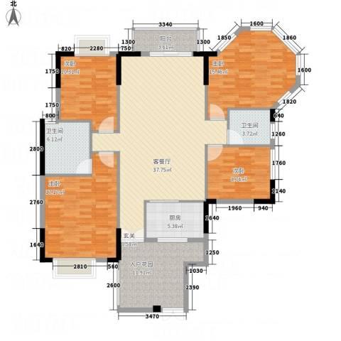 涉外国际公馆二期4室1厅2卫1厨167.00㎡户型图