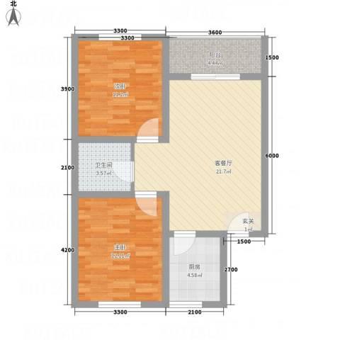 万西苑2室1厅1卫1厨72.00㎡户型图