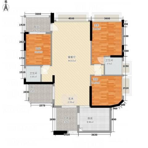 均城上岛水岸3室1厅2卫1厨145.00㎡户型图