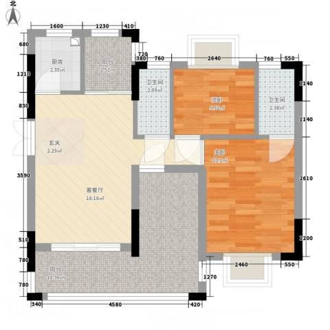 鼎湖尚悦峰景2室1厅2卫1厨76.00㎡户型图