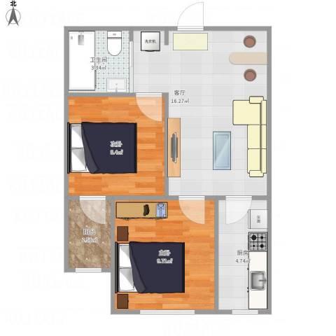 丽晶公馆2室1厅1卫1厨61.00㎡户型图