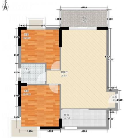 涉外国际公馆二期2室1厅1卫1厨93.00㎡户型图