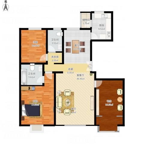 亿利城文澜雅筑3室1厅2卫1厨147.00㎡户型图