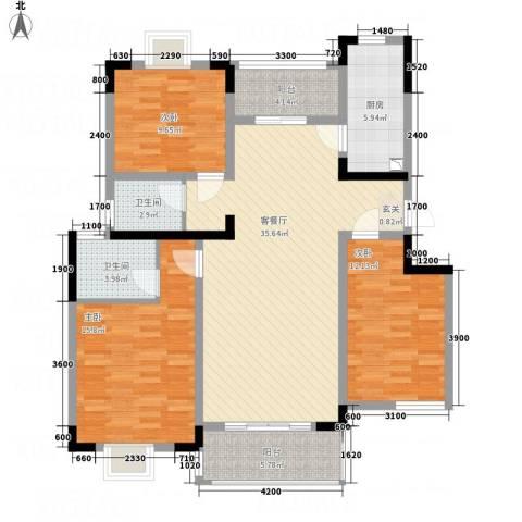 东成大厦3室1厅2卫1厨138.00㎡户型图