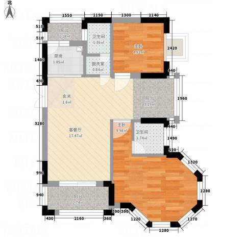 鼎湖尚悦峰景2室2厅2卫1厨61.00㎡户型图