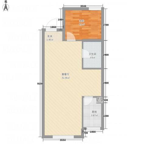 亿丰・微公馆1室1厅1卫1厨75.00㎡户型图