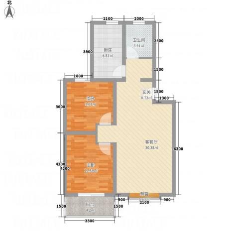 万西苑2室1厅1卫1厨66.36㎡户型图