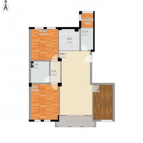 赛格特东城名苑3室1厅2卫1厨140.00㎡户型图