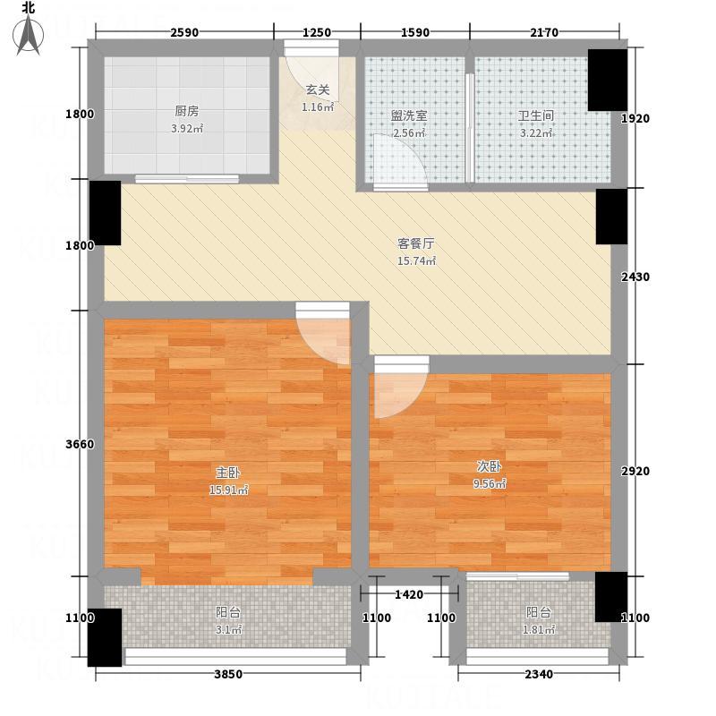 德华国际公域84.00㎡B1户型2室2厅1卫1厨