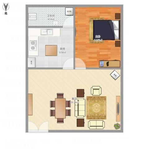 金山村1室1厅1卫1厨79.00㎡户型图