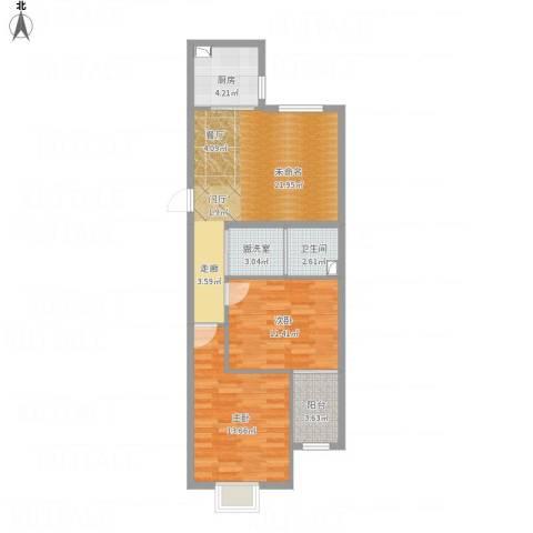 石臼老街13#XX04-85.72室1厅1卫1厨86.00㎡户型图