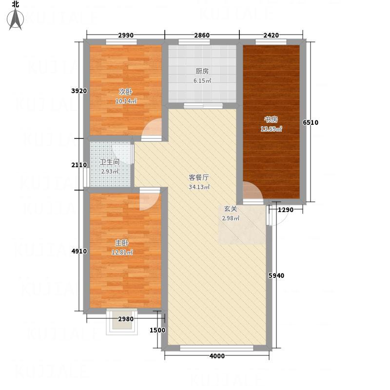 华大丰泽园3134.20㎡户型3室2厅1卫1厨