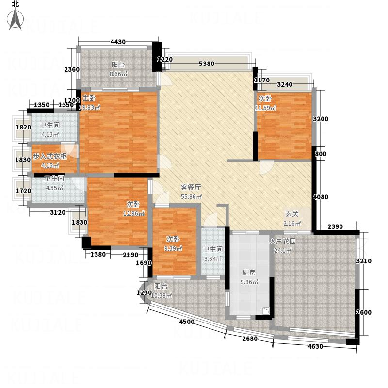 均城上岛水岸18.00㎡户型4室2厅3卫1厨