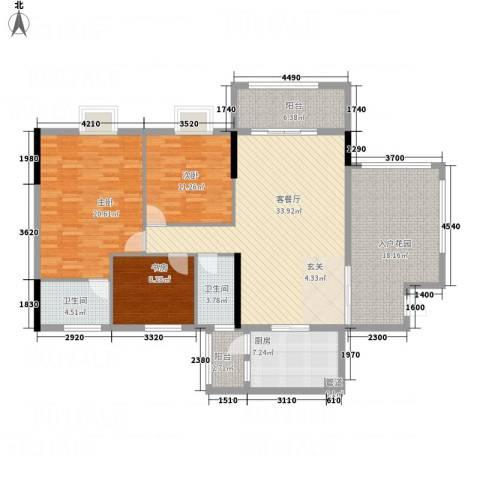 华英城三期3室1厅2卫1厨131.00㎡户型图