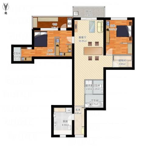 香樟公寓3室2厅3卫1厨162.00㎡户型图