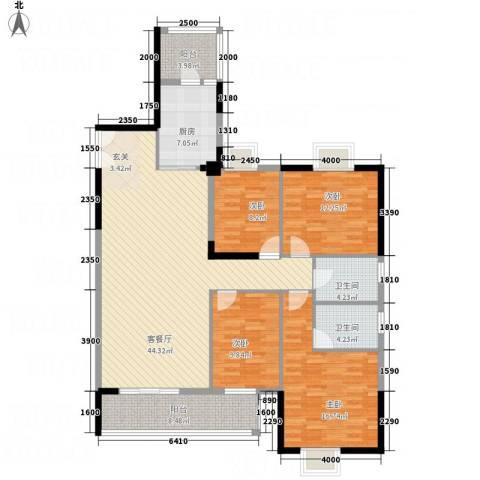 红塔汇翠山庄七期4室1厅2卫1厨167.00㎡户型图
