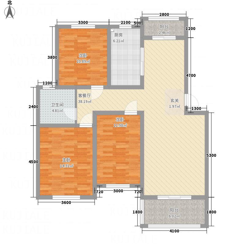 中凯景湖豪庭E户型2室2厅1卫1厨
