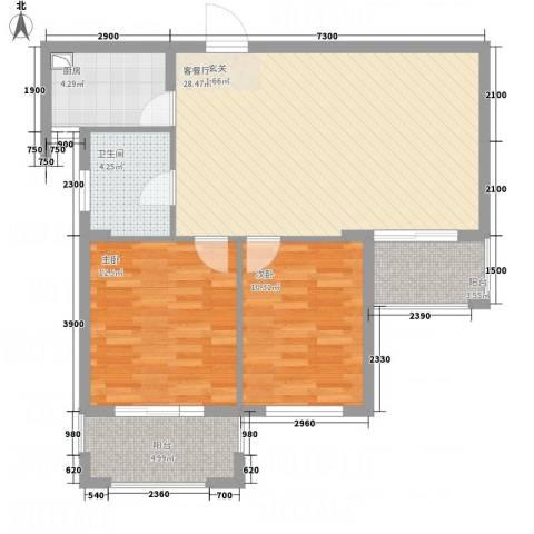 水岸天际2室1厅1卫1厨96.00㎡户型图