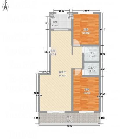 沧州孔雀花园小区(原王官屯旧城改造)2室1厅2卫1厨115.00㎡户型图