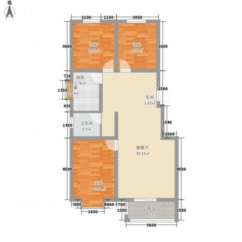 沧州孔雀花园小区(原王官屯旧城改造)3室1厅1卫1厨82.47㎡户型图