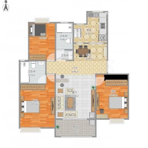 越湖名邸3室1厅2卫1厨132.00㎡户型图