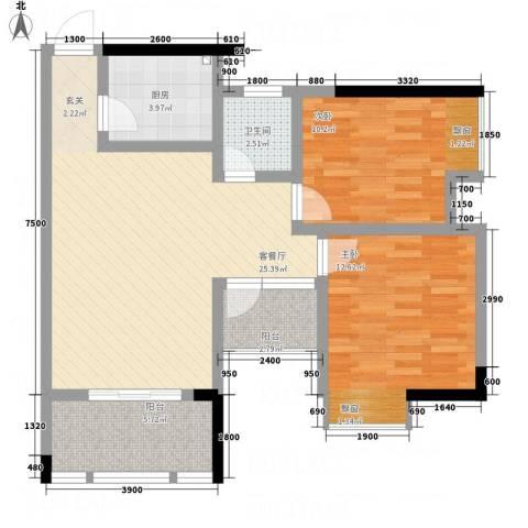 云鼎公馆二期2室1厅1卫1厨93.00㎡户型图