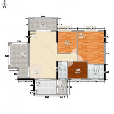 华英城三期3室1厅2卫1厨95.13㎡户型图