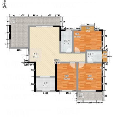 云鼎公馆二期3室1厅2卫1厨151.00㎡户型图