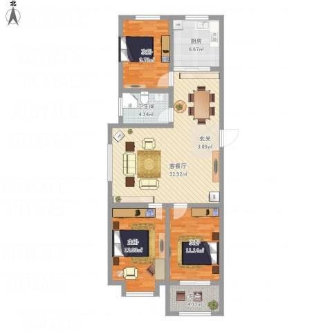 金玉豪庭3室1厅1卫1厨117.00㎡户型图