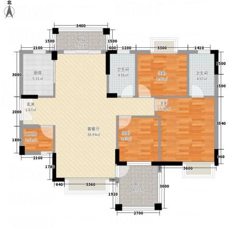 里维埃拉3室1厅2卫1厨136.00㎡户型图