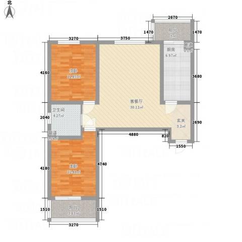 吉隆公寓2室1厅1卫1厨72.62㎡户型图