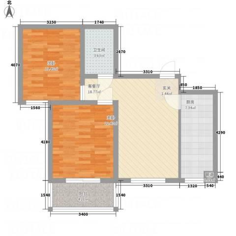 吉隆公寓2室1厅1卫1厨83.00㎡户型图