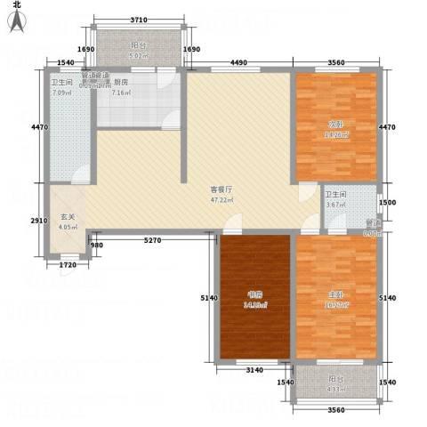 吉隆公寓3室1厅2卫1厨147.00㎡户型图