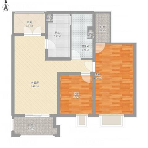 世茂国际广场2室1厅1卫1厨100.00㎡户型图