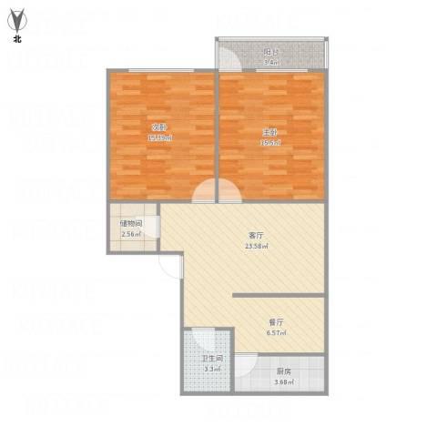 洪楼小区2室1厅1卫1厨91.00㎡户型图