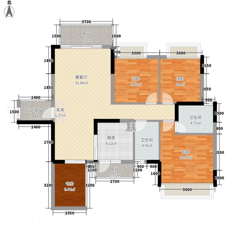 美的城9#B户型2室2厅2卫