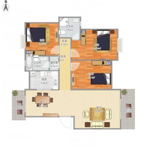 七里新村3室2厅2卫1厨99.04㎡户型图