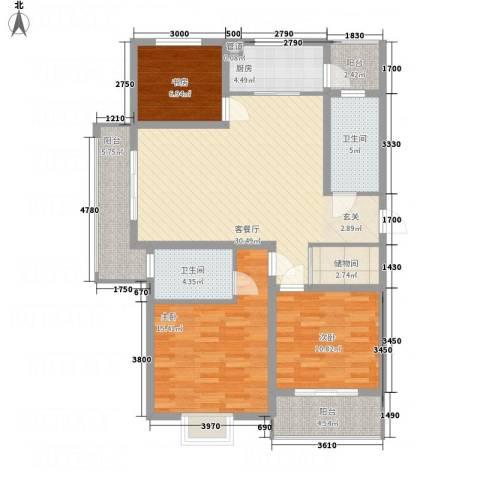 文锦苑3室1厅2卫1厨93.04㎡户型图