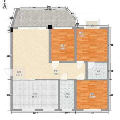 吉宁山庄3室1厅2卫1厨127.00㎡户型图
