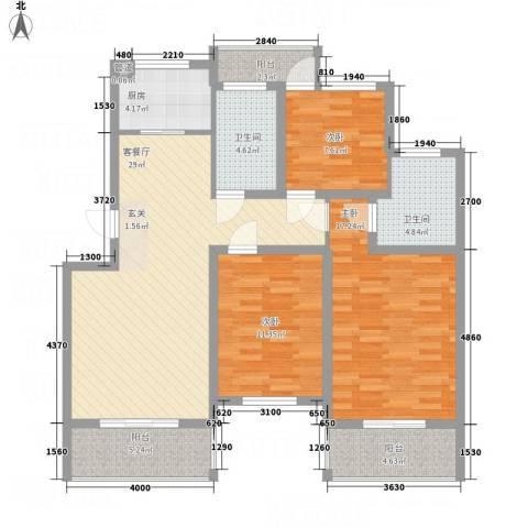 文锦苑3室1厅2卫1厨91.06㎡户型图