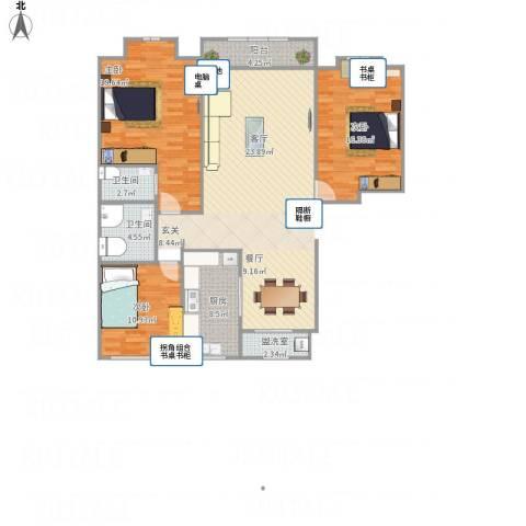 和谐家园3室1厅2卫1厨94.00㎡户型图