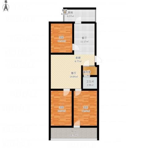 科苑小区3室1厅1卫1厨131.00㎡户型图