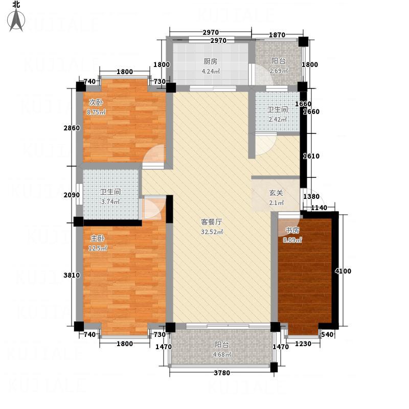 美丽新世界115.10㎡E户型3室2厅2卫1厨