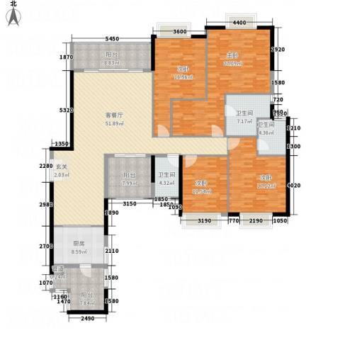 锦城南苑4室1厅3卫1厨216.00㎡户型图