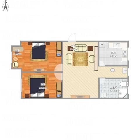 宏运佳苑2室1厅1卫1厨81.00㎡户型图