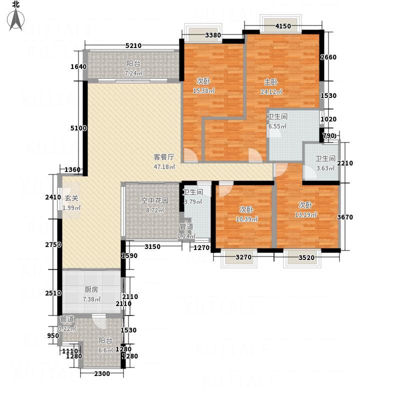 锦城南苑216.36㎡B栋01户型4室2厅2卫1厨